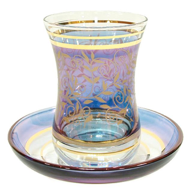 トルコ製  チャイグラス&ソーサー