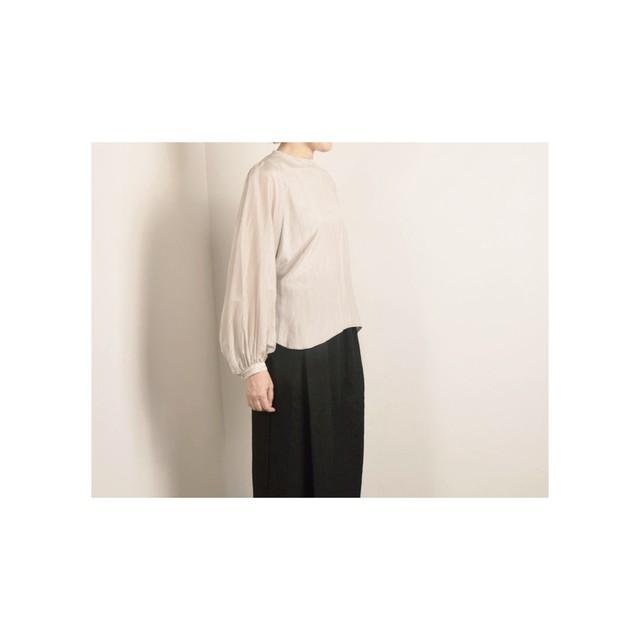 suzuki takayuki スズキタカユキ コットン/シルク ブッファンスリーブブラウス アイスグレイ bouffant sleeve blouse S-191/05