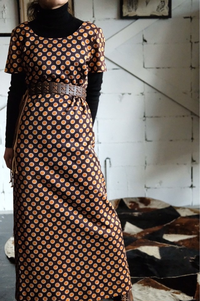 Vintage orange pattern dress