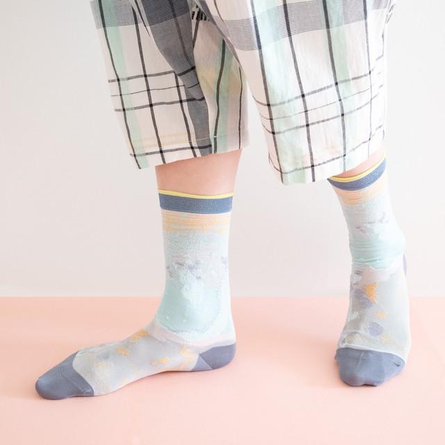 【COQ textile】葉と水の隙間・ソックス(ブルー)