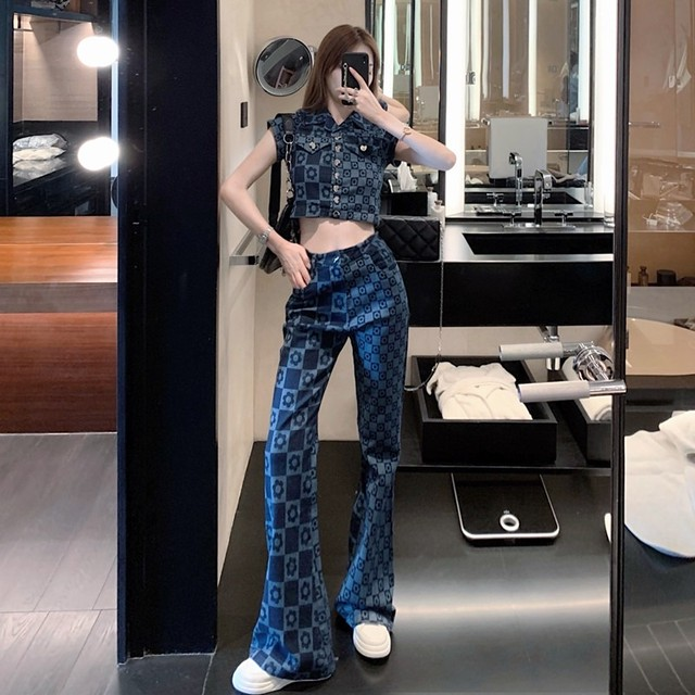 【セット】「単品注文」ファッション半袖シングルブレストPOLOネックショート丈シャツ+パンツ45576228
