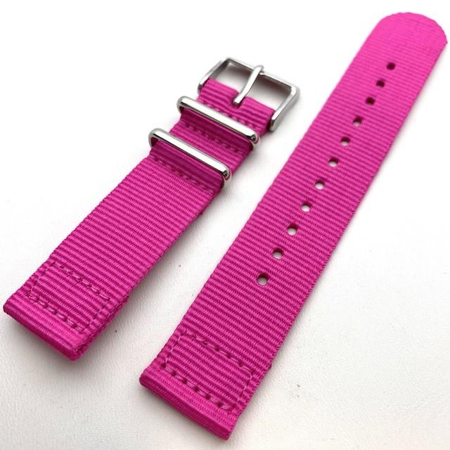 ネオンカラー セパレートNATOナイロンストラップ ネオンピンク 20mm 腕時計ベルト