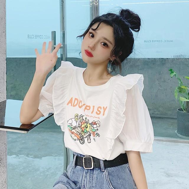 【トップス】韓国系半袖ラウンドネックプルオーバーパフスリーブTシャツ46043883