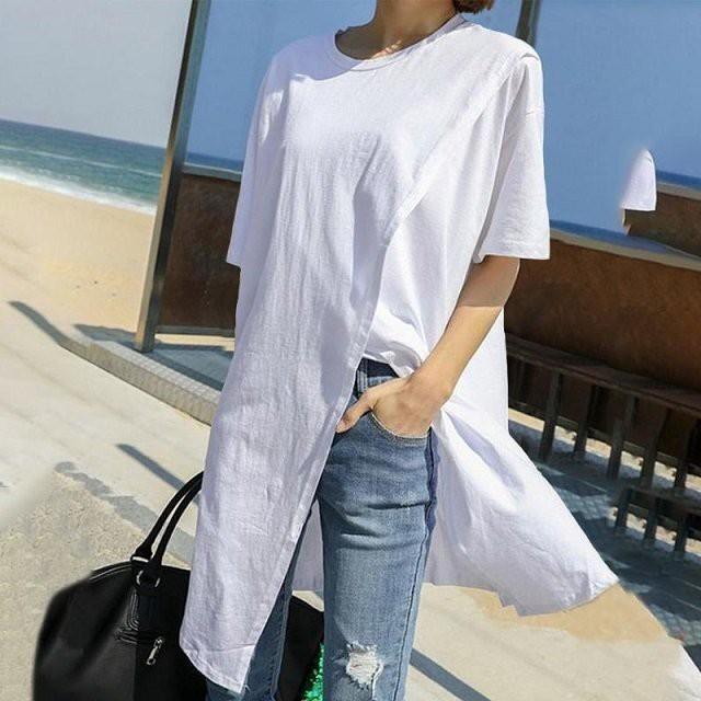 TOPANGA Lady's スプリットヘムTシャツ ホワイト