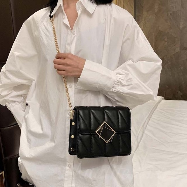 【バッグ】魅力的シンプルレトロ幾何模様チェーンマグネットショルダーバッグ46941993