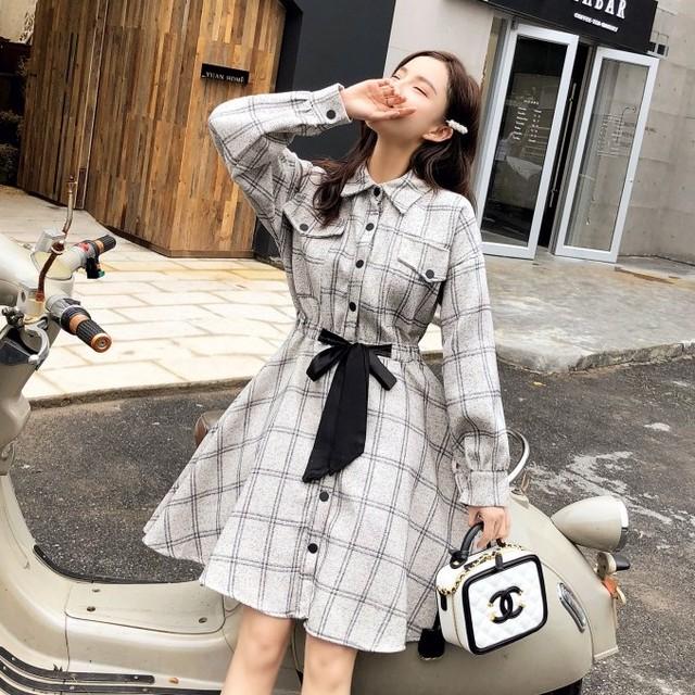 【dress】デートワンピースPOLOネックリボン付きチェック柄ワンピース