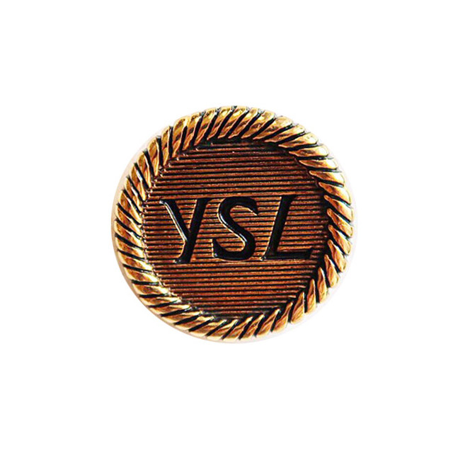 【VINTAGE SAINTLAURENT BUTTON】アンティークゴールドロゴ ボタン 23mm