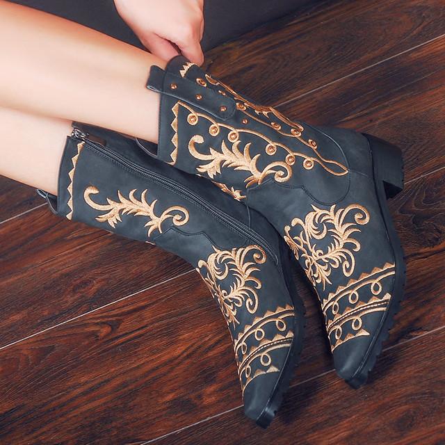 民族風靴 チャイナ靴 ブーツ 35 36 37 38 39 40 刺繍入り レトロ 綺麗め 脚長効果よい リベット