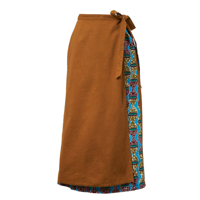 リバーシブル巻きスカート キャメル トーキングドラム (日本縫製) 異素材 2way アフリカンプリント アフリカンファブリック フリカンバティック アフリカ布 ガーナ布 ラップスカート