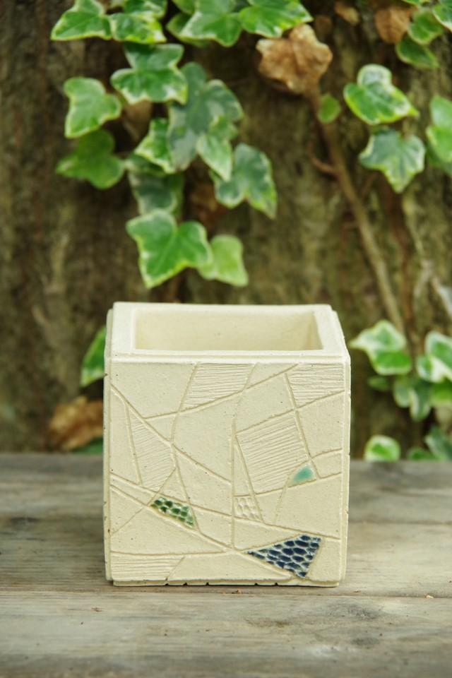 cube pot(staind glass series)②【佐野 有子】