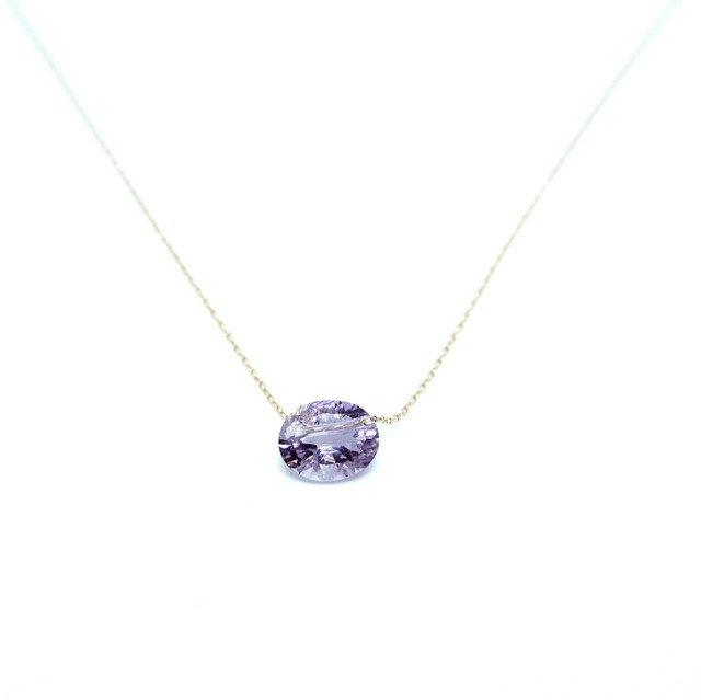 Holey stone Conecave Necklace Amethyst - K18YG