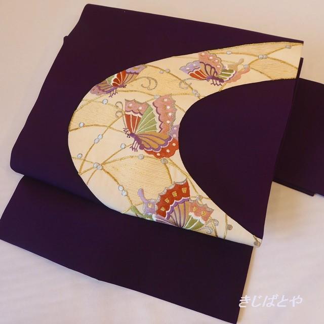 正絹塩瀬 紫に蝶のなごや