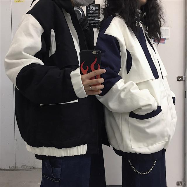 海外発送:バイカラー・フード付きジャケット