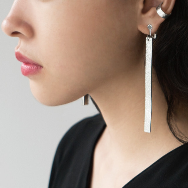 《ピアス》TIN BREATH Pierced earring  H7×80mm Silver
