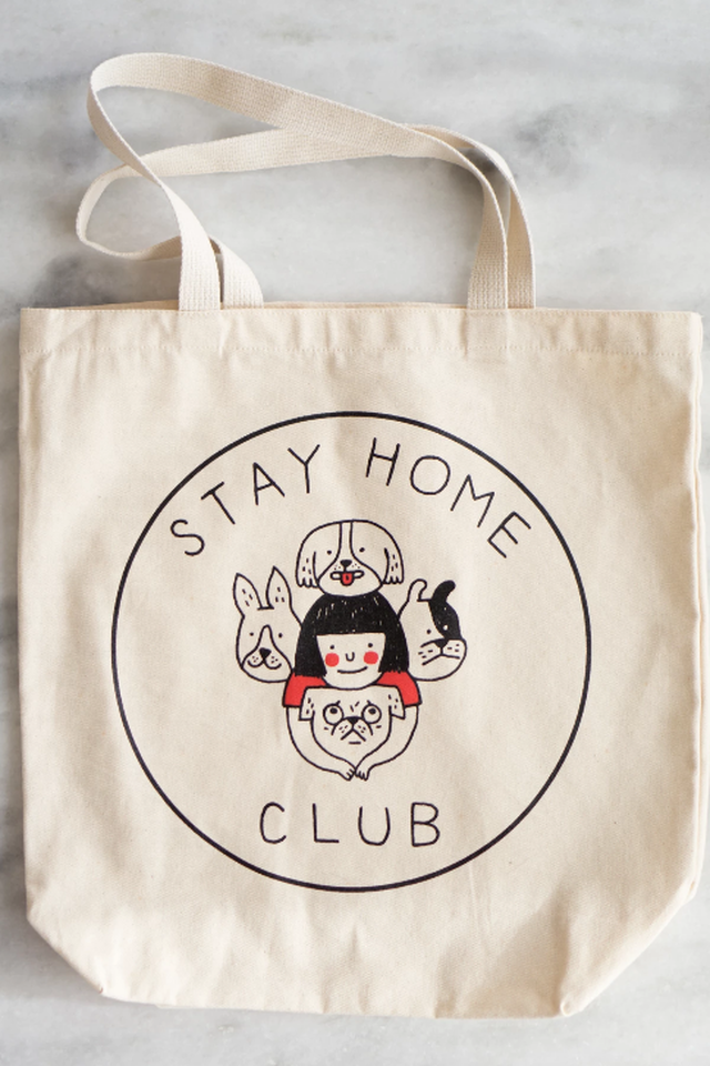 Stay Home Dogs tote bag
