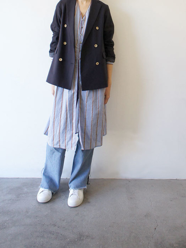 italy silk linen stripe coat dress / Munich