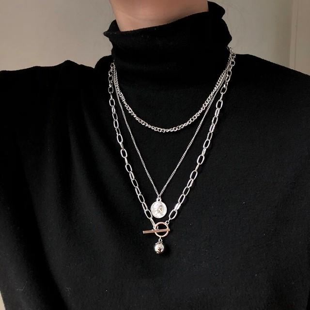【小物】ファッション個性派ストリート系シンプルチタン鋼ネックレス3点セット41583599