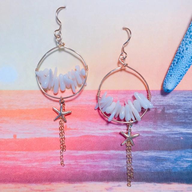 【14kgf】Ring×coral ×starfish×chain pierce (white)