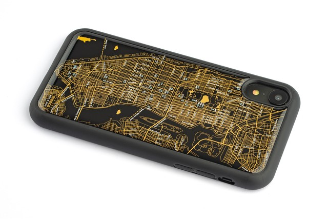 FLASH NY回路地図 iPhone XRケース 黒【東京回路線図A5クリアファイルをプレゼント】