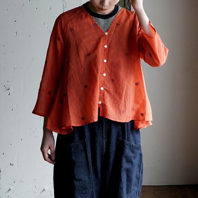 khadi cotton blouse -red-
