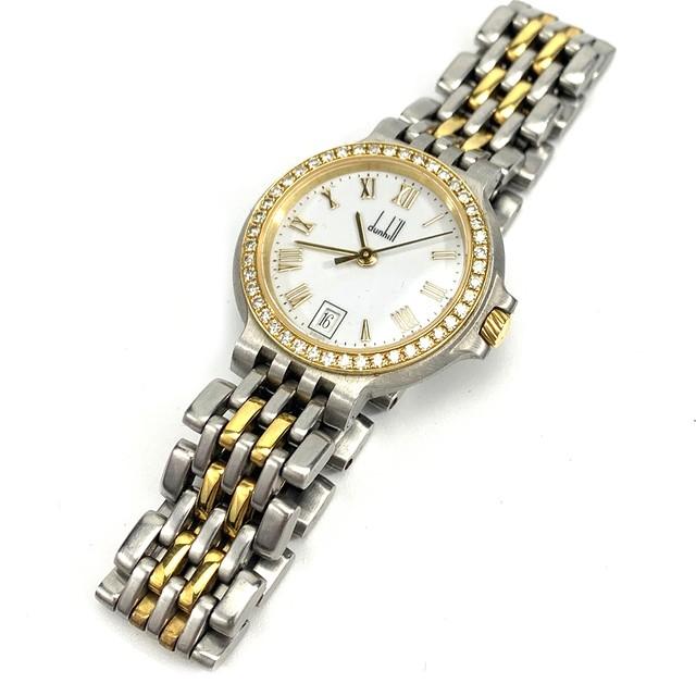 dunhill  ダンヒル エリート ダイヤモンド ベゼル レディース ウォッチ 腕時計 シルバー ゴールド オールド vintage ヴィンテージ Accessories