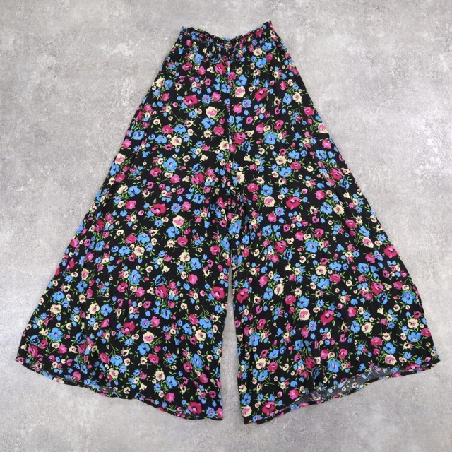 Flower retro design wide pants