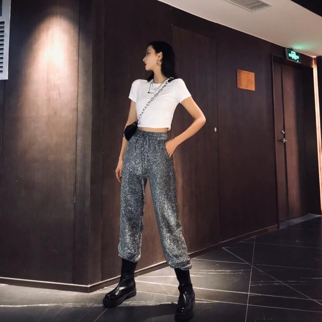 glitter wide pants