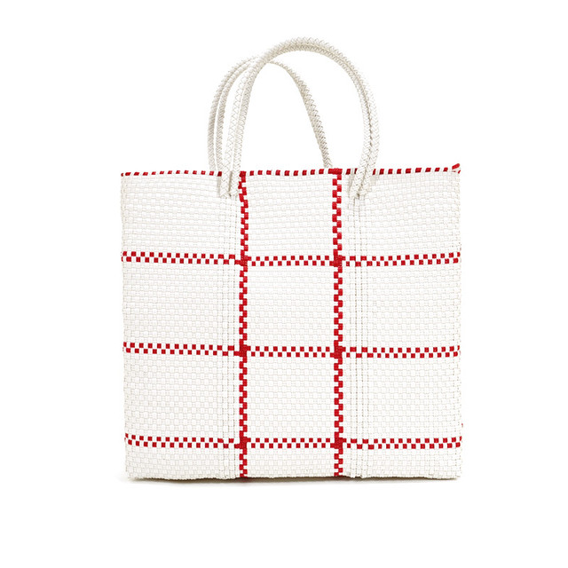 MERCADO BAG STITCH- Red x White(M)