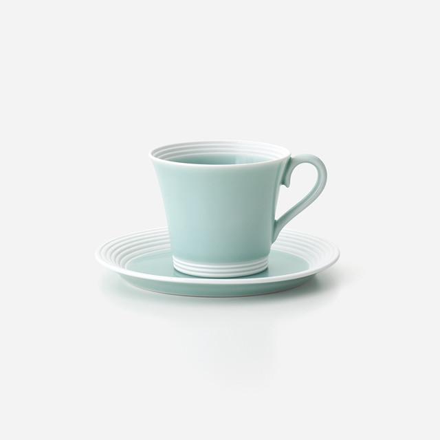 青磁白彩 珈琲碗皿