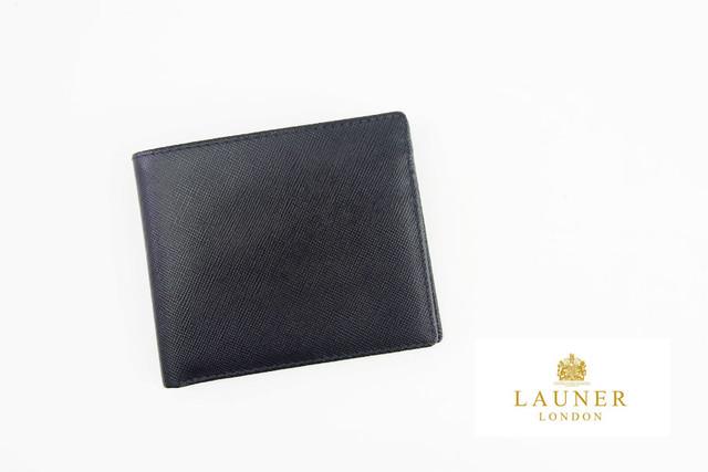 ロウナー ロンドン|LAUNER LONDON|小銭入れ付き折財布|717|ブラック×スカーレット