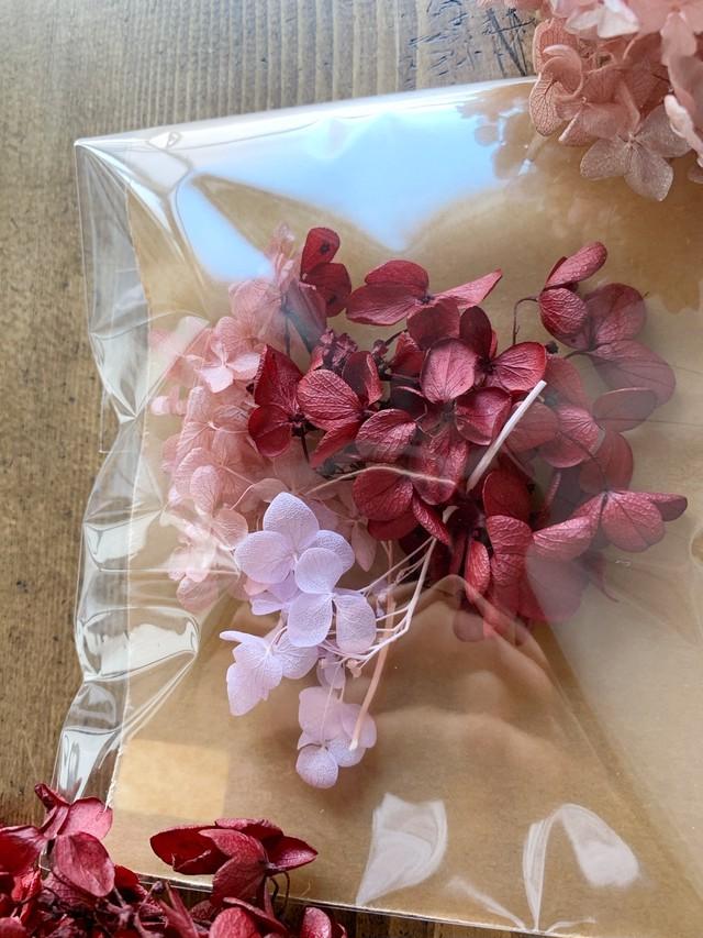 「レッド系紫陽花フワラーアソード」レジン花材 ハンドメイド資材 ドライフラワー ブリザードフラワー