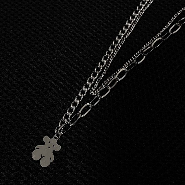 bear plate silver necklace  PD2585