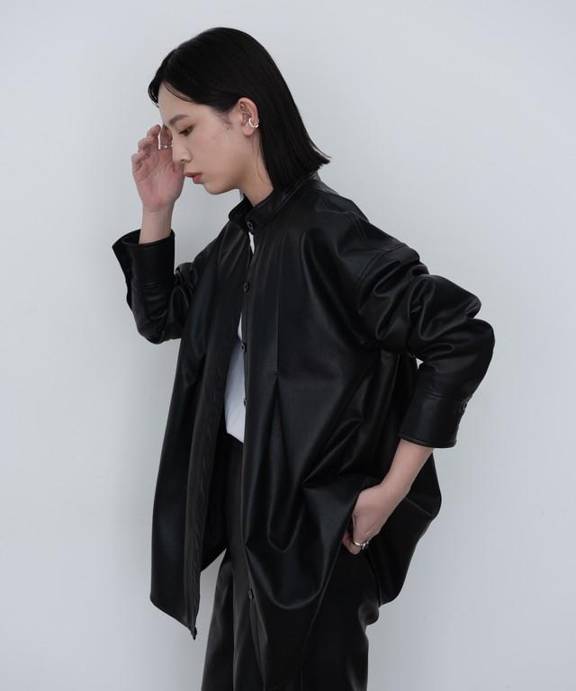 エコレザータックCPOシャツ/BLK