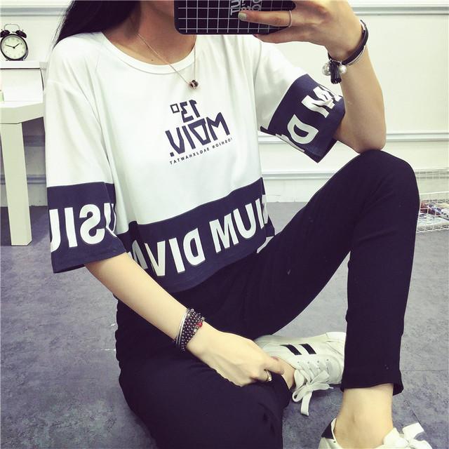 【トップス】スウィート学園風アルファベットプリントTシャツ44798204