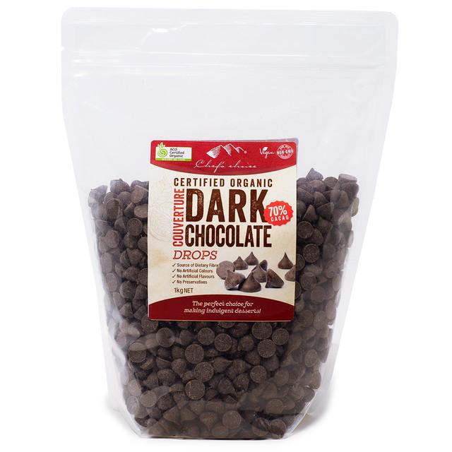 【アウトレット】オーガニックダークチョコレート(カカオ70%)ドロップ 1kg ファットブルーム50%