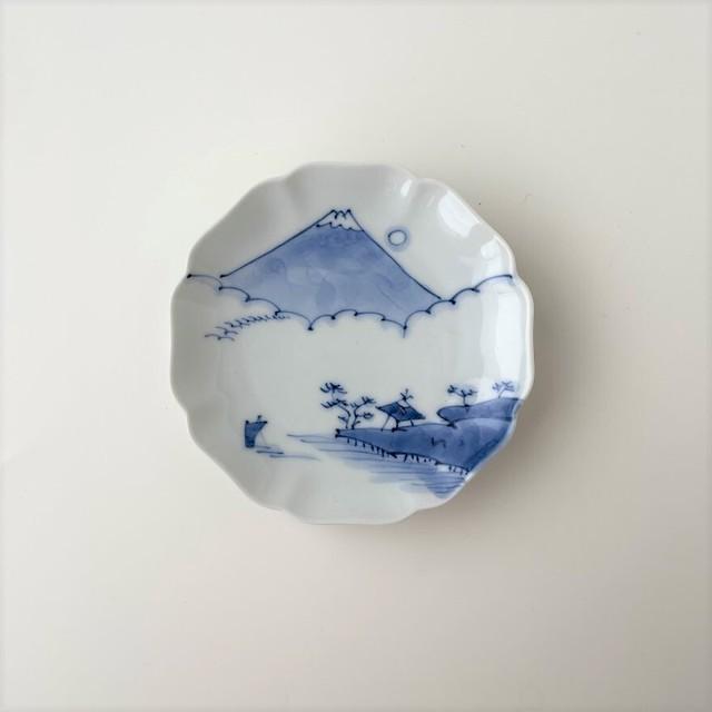 【おてしょ皿】染付富士山図 輪花皿