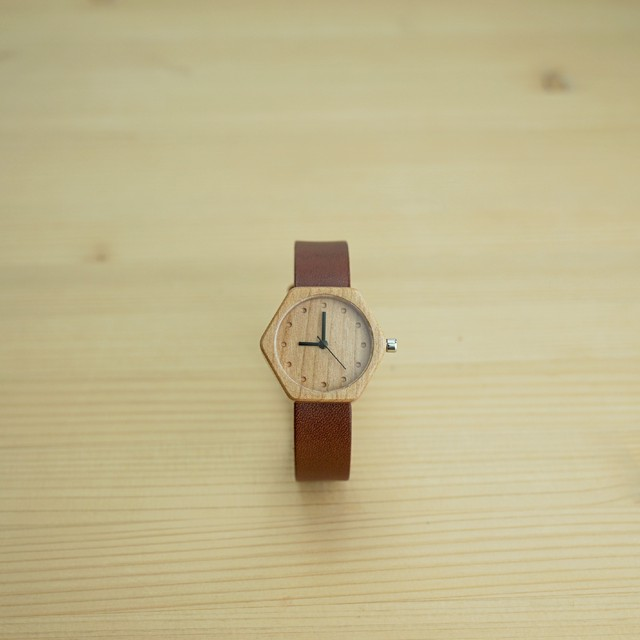 六角形 Cherry wood - Organic leather Dark Brown - S