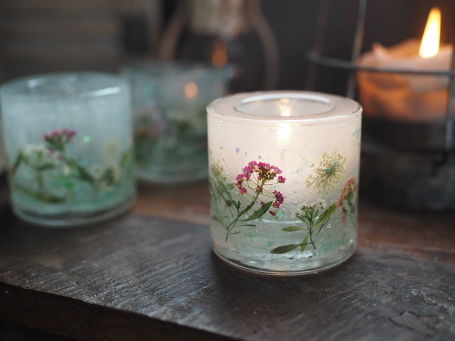 Pressed Flowers Candle Holder 4