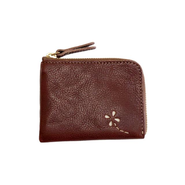 かばん屋さんの財布 ミニ財布 L字ファスナー(チョコ)本革 オシャレ レディース