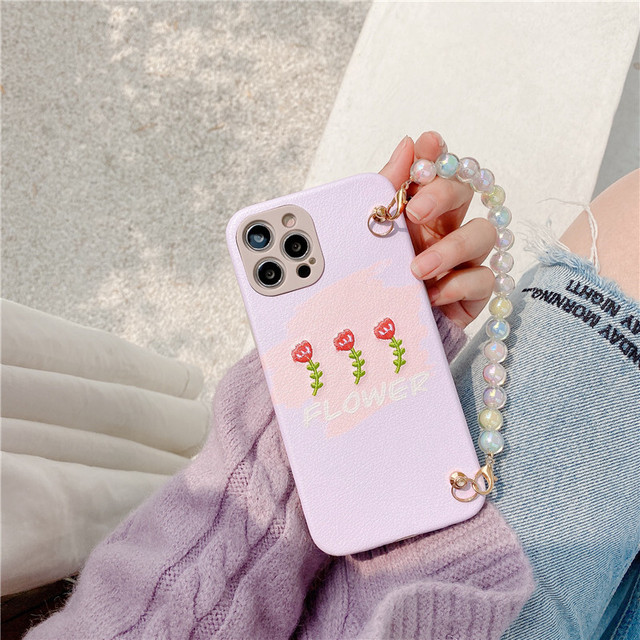 Colored pearls chain flowers iphone case