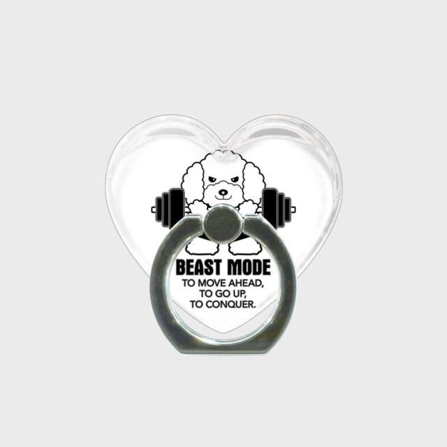 【BEASTMODE】ハート型 スマホリング モノクロシリーズ プードル