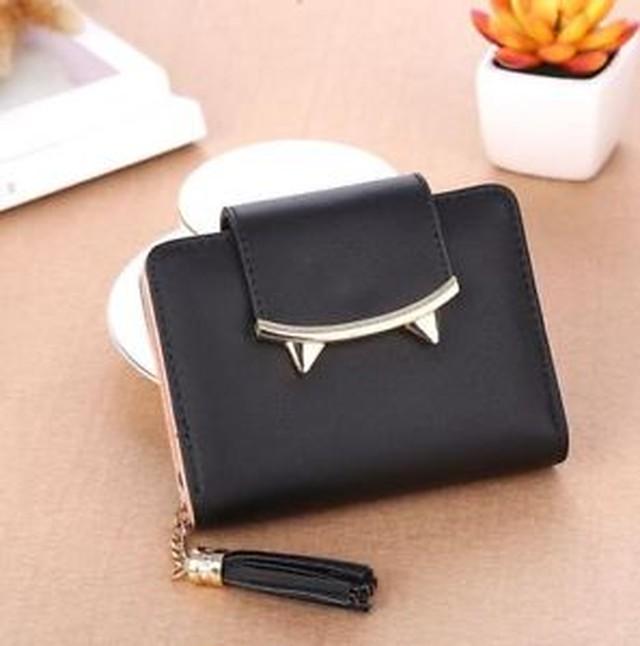 【送料無料】クラッチショートタッセルwomen small day clutch trifold purse korean cute cat ears leather short tassel i