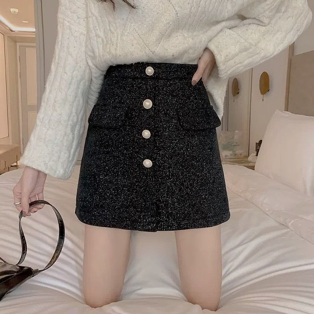 shenylu  button skirt 3color