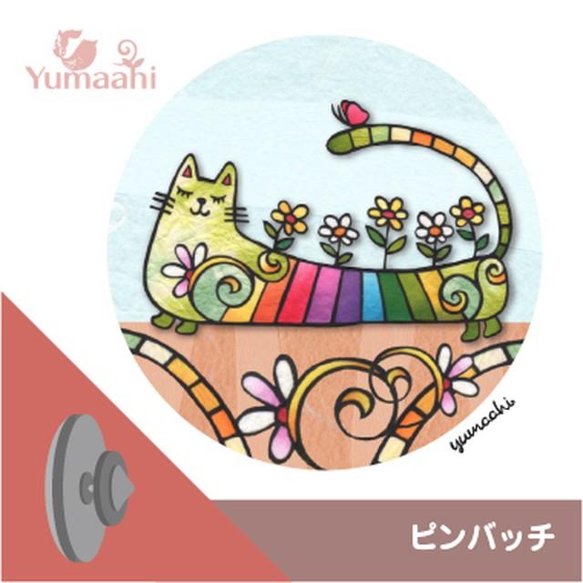 ピンバッチ :  虹色の猫