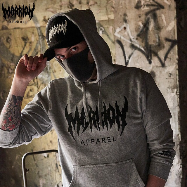 【裏パイル】MARRION APPAREL LOGO HOODIE  (MixGray×Black)