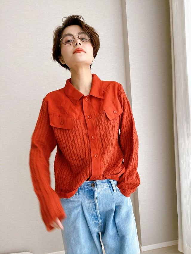 (KN026)Docking knit shirt