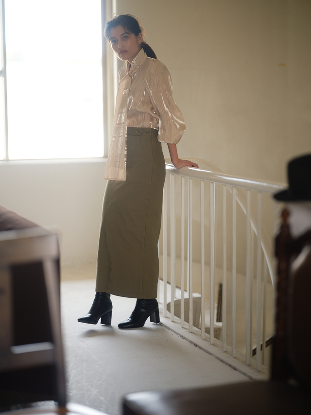 stretch twill narrow skirt(olive)