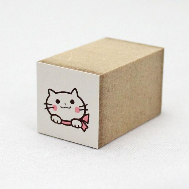 【こどものかお】カラーミニスタンプ(猫シルエット後)【猫雑貨 ハンコ 1651-116】