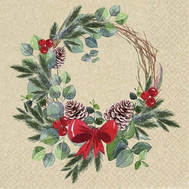 2020秋冬新作【Home Fashion】バラ売り2枚 ランチサイズ ペーパーナプキン Natural Wreath ナチュラル