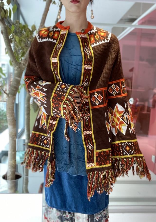 70s native fringe knit cardigan